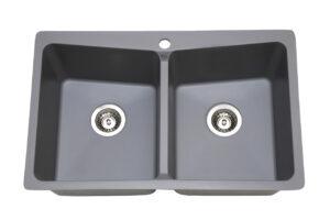כיור מטבח כפול דגם אגת בצבע אפור
